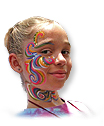 Girl with floral swirls painted on her face and neck